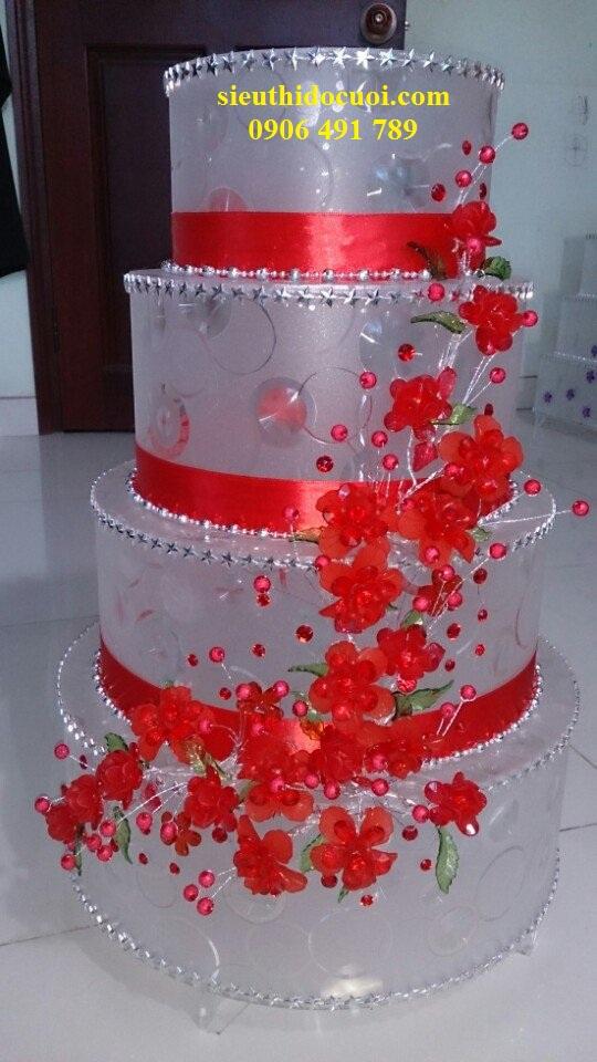 Thùng tiền cưới hoa đá hình bánh kem